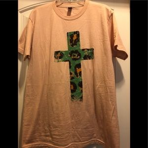 Peach colored shirt with cheetah & turquoise cross